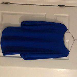 Cobalt silk long sleeve mini dress!